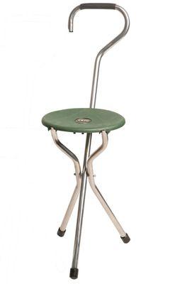 Trio Green Crook Folding Seat Stick
