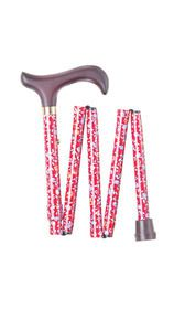Red Floral Folding Stick (short)